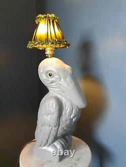 Extremely Rare Abigail Ahern Limited Edition Ceramic Pelican Lamp, Original shade