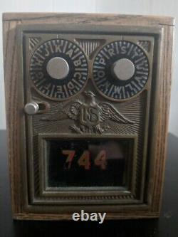 Extremely Rare Antique Locking 2-dial U. S. Mail Post Office Box Wooden Coin Bank