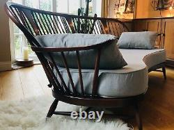 Extremely Rare Ercol Double Bow 3 Seater Sofa With New Cushions, Mid Century