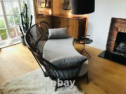 Extremely Rare Ercol Double Bow Sofa In Dark Wood With New Cushion, Mid Century