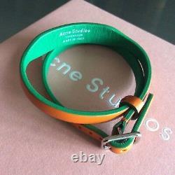 Extremely rare Acne Studios Amatrix orange/green double leather bracelet