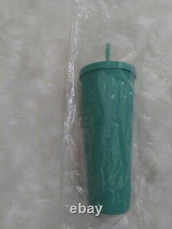 Extremely rare HTF Starbucks Matte Teal Green Soft Touch Venti/24oz tumbler BNWT