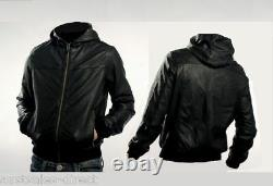 Mens Black Leather Hoodie Jacket A+ Sheep Extremely Soft Supple RARE! Large Only