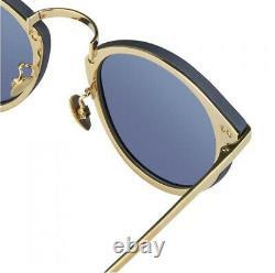 New Linda Farrow 24k Gold Blue Sunglasses Unisex EXTREMELY RARE! MSRP $949
