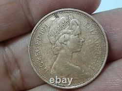 1971 New Pence Coin 2p (extrêmement Rare) Originale Britannique Queen Elizabeth II 2e