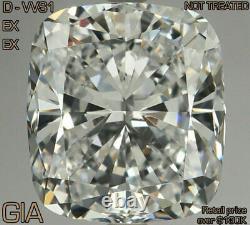 3.0 Ct D Vvs1 Ex Ex Coussin Naturel Gia Cert Diamant Lâche Extrêmement Rare
