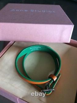 Extrêmement Rare Acne Studios Amatrix Orange / Vert Bracelet En Cuir Double