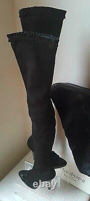 Extrêmement Rare! Bnib Tom Ford Pour Ysl 2001 Suede Thigh High Boots. Taille Du Royaume-uni 4