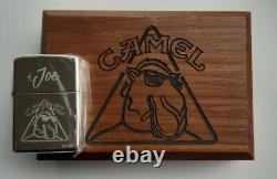 Extrêmement Rare Camel Zippo Joe Triangle 1997 Argent Sterling Dans La Boîte À Noix