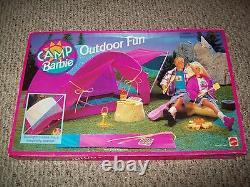 Extrêmement Rare Camp Barbie Outdoor Fun Tent Camping Fire New Nib Sealed