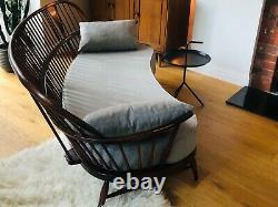 Extrêmement Rare Ercol Double Bow 3 Seater Sofa With New Cushions, MID Century