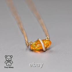 Extrêmement Rare Mexicain Fire Opal Diamond Collier Pendentif 14k Or Jaune