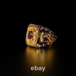 Extrêmement Rare Naturel Non Chauffé Ruby Diamond 18k Gold Mens Ring