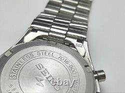 Extrêmement Rare Nos 1970's Seiko Chronograph 7016-8001 (5 Mains) Non Utilisé #7234