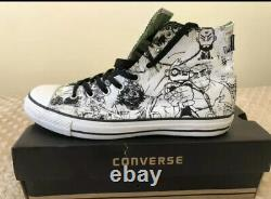 Gorillaz Converse Chaussures Blanc/noir Haut Taille Top 10 Extremely Rare