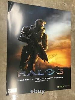 Halo 3 Extrêmement Rare Affiche De Promo Embossed Xbox Nouveau État De La Monnaie Master Chief