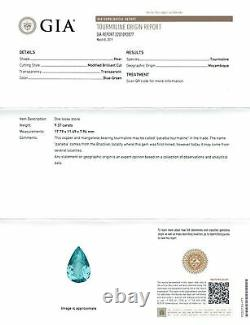 Natural Extremely Rare Flawless Mozambique Paraiba Tourmaline Pear 9.37cts Gia