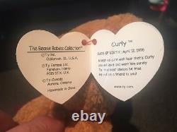 Rarissime Ty Bonnet Baby'curly ' Retraité Ours Avec Beaucoup D'erreurs-mint-gem