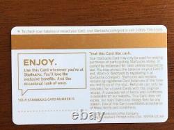 Starbucks Card 2008 Test White Gold Extremely Rare New Mint- Pas De Logo Ou De Série #